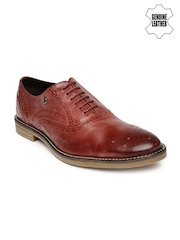 Arrow Men Red Genuine Leather Brogue Formal Shoes