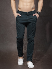 Roadster Men Teal Blue Solid Flat-Front Slim Fit Trousers