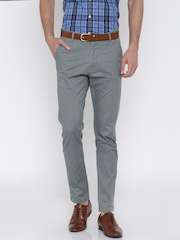 Mast & Harbour Grey Slim Differential Length Flat-Front Trousers