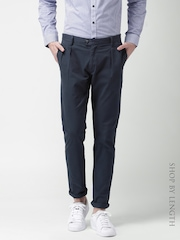 Mast & Harbour Navy Slim Differential Length Pleated Casual Trousers