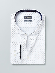 INVICTUS White & Brown Printed Slim Fit Formal Shirt