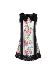 CUTECUMBER Girls Off-White & Black Floral Print Polyester A-Line Dress