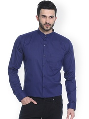 Basics Navy Printed Slim Fit Smart Casual Shirt