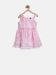 YK Baby Girls Pink Lace Fit & Flare Dress