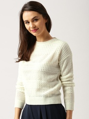 all about you from Deepika Padukone Women Cream-Coloured Self-Design Sweater