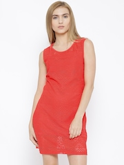 Vero Moda Red Polyester Lace A-Line Dress