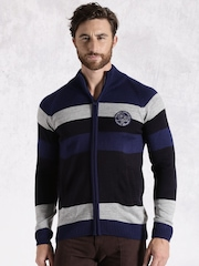 Roadster Men Blue Striped Cardigan