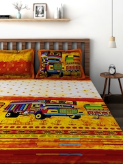 BOMBAY DYEING Mustard Yellow 144 TC Cotton Double Bedsheet with 2 Pillow Covers