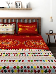 BOMBAY DYEING Multicoloured 144 TC Cotton Double Bedsheet with 2 Pillow Covers
