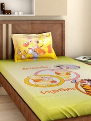 BOMBAY DYEING Winni Kids Multicoloured Cotton 220 TC Single Bedsheet with 1 Pillow Cover