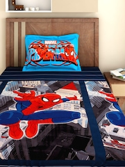 BOMBAY DYEING Spiderman Kids Blue Cotton 180 TC Single Bedsheet with 1 Pillow Cover