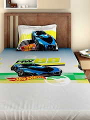 BOMBAY DYEING Hot Wheels Boys White 180 TC Cotton Single Bedsheet with 1 Pillow Cover