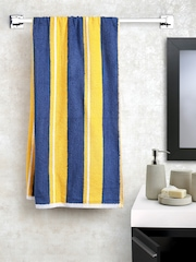 BOMBAY DYEING Navy & Mustard Yellow Striped Cotton 450 GSM Bath Towel