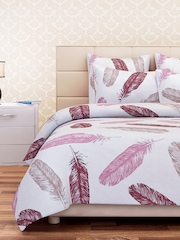 SEJ by Nisha Gupta White & Pink 160 TC Cotton Double Bedsheet with 2 Pillow Covers