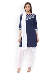 Jaipur Kurti Blue & White Patiala Kurta Set with Dupatta