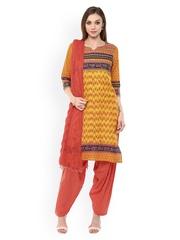 Jaipur Kurti Yellow & Orange Printed Patiala Kurta Set with Dupatta