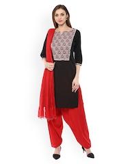 Jaipur Kurti Black & Red Patiala Kurta Set with Dupatta
