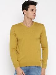 Mast & Harbour Men Mustard Yellow Solid Sweater