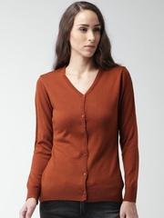 Mast & Harbour Women Rust Orange Cardigan