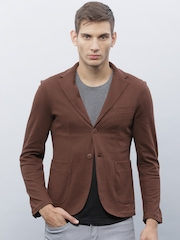 ether Burgundy Single-Breasted Casual Blazer