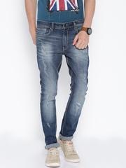 Locomotive Blue Super Slim Distressed Jeans