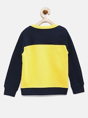 YK Boys Yellow & Navy Colourblocked & Printed Sweatshirt