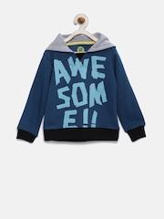 YK Boys Teal Blue Printed Hooded Sweatshirt