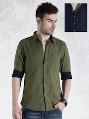 Roadster Olive Green & Navy Reversible Casual Shirt