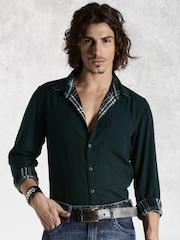 Roadster Green & Navy Checked Reversible Casual Shirt