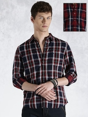 Roadster Navy & Red Checked Reversible Casual Shirt
