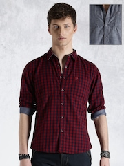 Roadster Red & Blue Checked Reversible Casual Shirt