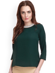 SASSAFRAS Green Polyester Embellished Top