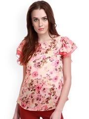 SASSAFRAS Pink Floral Print Georgette Top