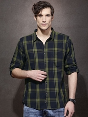 Roadster Men Olive Green & Navy Checked Casual Shirt