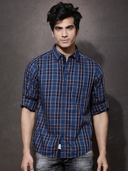 Roadster Men Blue & Brown Checked Casual Shirt