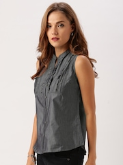 All About You from Deepika Padukone Charcoal Grey Chambray Top