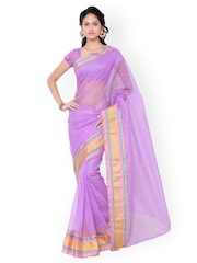 7 Colors Lifestyle Lavender Supernet & Dupion Traditional Saree