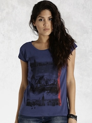 Roadster Blue Printed T-shirt