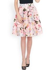 SASSAFRAS Pink Floral Print Silk A-Line Skirt