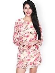 SASSAFRAS Off-White & Pink Floral Print Sheath Dress