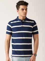 ETHER Navy & White Striped Polo T-shirt