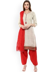Jaipur Kurti Beige & Red Patiala Kurta Set with Dupatta