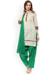 Jaipur Kurti Beige & Green Patiala Kurta Set with Dupatta