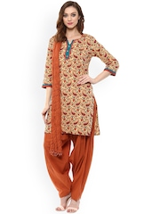 Jaipur Kurti Beige & Brown Paisley Print Patiala Kurta Set with Dupatta