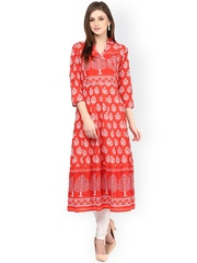 Bhama Couture Orange Printed A-Line Kurta
