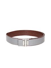 Tommy Hilfiger Men Grey Printed Leather Belt