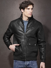 Roadster Black Faux Leather Bomber Jacket