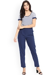 Magnetic Designs Navy Striped Polyester Jumpsuit
