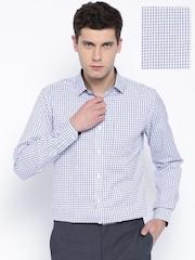 Mark Taylor Blue & White Checked Slim Formal Shirt