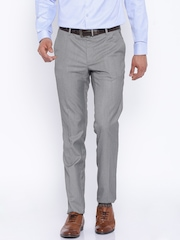 Black Coffee Grey Low-Rise Sharp Fit Formal Trousers